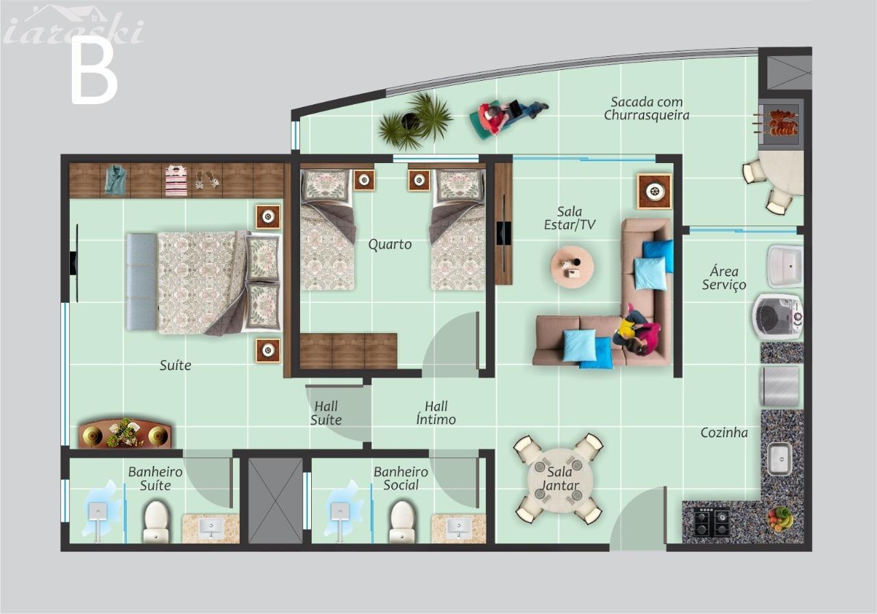 Apartamento com 2 dormitórios Residencial Dom Francisco em Foz do Iguaçu/PR